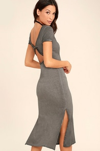 Just You Washed Grey Backless Midi Dress at Lulus.com!