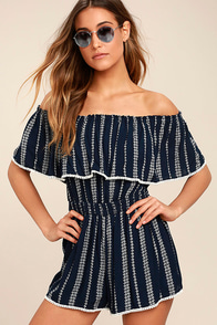 See Ya There Navy Blue Print Off-the-Shoulder Romper