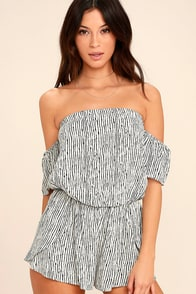 Get-Together Black And White Striped Off-the-Shoulder Romper at Lulus.com!