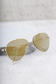 Perverse Bronson Gold Mirrored Aviator Sunglasses