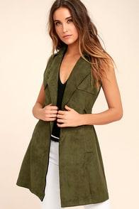 Geneva Olive Green Suede Belted Vest at Lulus.com!