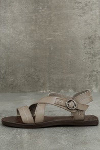 Blowfish Drum Birch Taupe Flat Sandals