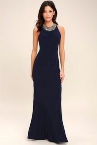 Pledging My Love Navy Blue Beaded Maxi Dress