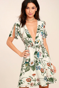 Instant Bliss Ivory Floral Print Wrap Dress