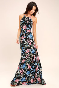 Loving Ways Black Floral Print Maxi Dress at Lulus.com!
