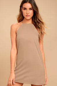 Endlessly Endearing Taupe Dress