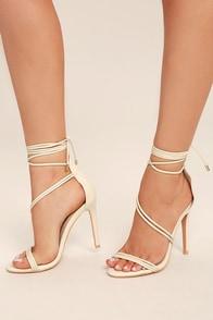 Ameerah Nude Lace-Up Heels