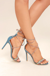 Kensey Denim Lace-Up Heels