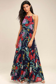 A Dream Realized Navy Blue Floral Print Maxi Dress