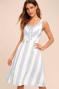 Martha's Vineyard Blue and White Striped Lace-Up Midi Dress
