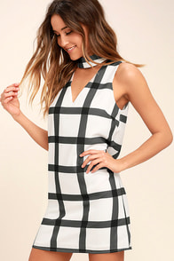 Right to the Point Ivory and Grey Grid Print Shift Dress