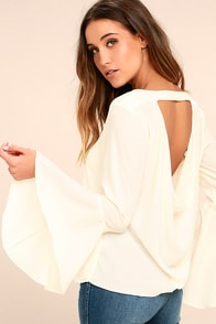 Contented Sigh Cream Long Sleeve Top