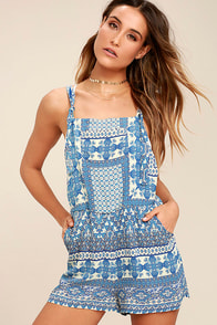 Patrons of Peace Tristan Blue Print Overalls