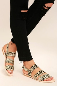 Matisse Owen Leopard Pony Fur Sandals