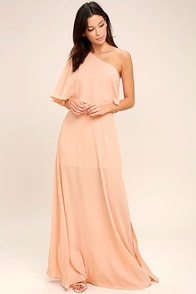 Angelic Way Blush One-Shoulder Maxi Dress