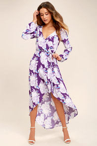 Lucy Love Raw Beauty Purple Floral Print High-Low Dress
