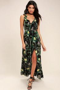 Leaf Your Mark Black Floral Print Maxi Dress