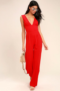 Fashion Faithful Red Wide-Leg Jumpsuit