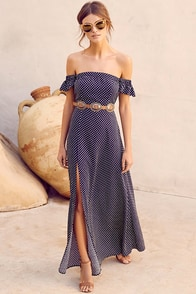 Dream Love Navy Blue Polka Dot Off-the-Shoulder Maxi Dress at Lulus.com!
