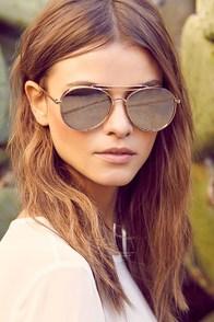 Perverse Solid Gold Mirrored Aviator Sunglasses