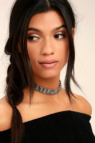 Temple of Temptation Silver and Black Choker