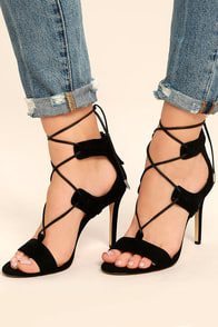 Daya by Zendaya Starke Black Suede Lace-Up Heels