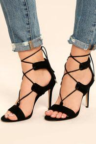 Daya by Zendaya Starke Black Suede Lace-Up Heels
