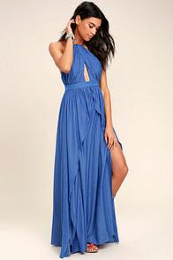 On My Own Blue Maxi Dress