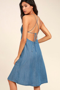 Monterey Bay Blue Chambray Midi Dress