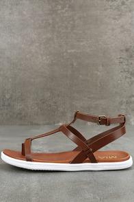 Mia Eryn Cognac Flat Sandals