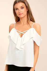 Sing It Now White Off-the-Shoulder Top