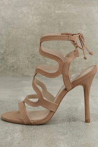 Steve Madden Ava Tan Nubuck Leather Caged Heels