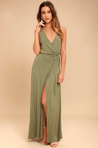 Road to Rome Washed Olive Wrap Maxi Dress