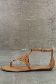 Report Ladon Tan Suede Flat Sandals