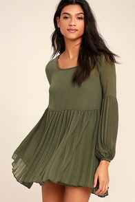 Aim to Pleats Olive Green Long Sleeve Dress
