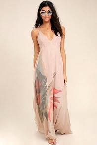 Island Delight Blush Pink Floral Print Maxi Dress