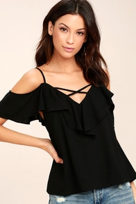 Sing It Now Black Off-the-Shoulder Top