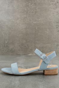 Steve Madden Cache Light Blue Suede Leather Heeled Sandals