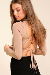 Meant for You Blush Lace-Up Bodysuit