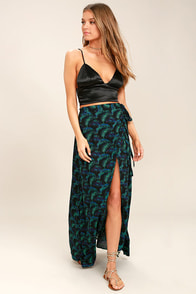 Lucy Love Grand Wailea Black Print Wrap Maxi Skirt