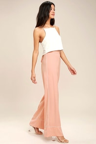 Welcoming Committee Blush Pink Wide-Leg Pants