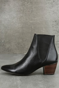 Amuse Society x Matisse Sass Black Leather Pointed Ankle Booties