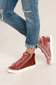 Madden Girl Eppic Blush Velvet High-Top Sneakers