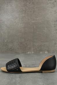 Voleta Black Cutout Peep-Toe Flats