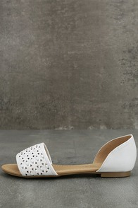 Voleta White Cutout Peep-Toe Flats