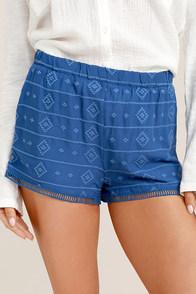 BB Dakota Watkin Blue Embroidered Shorts