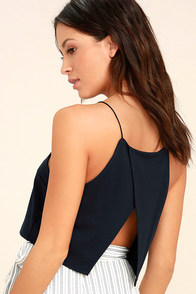 Share My Lair Navy Blue Crop Top