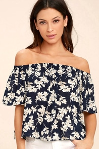 Think of Me Frondly Navy Blue Floral Print Off-the-Shoulder Top