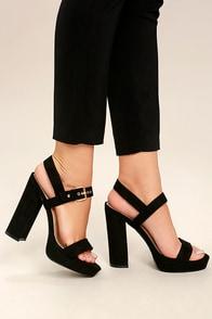 Alida Black Suede Platform Heels