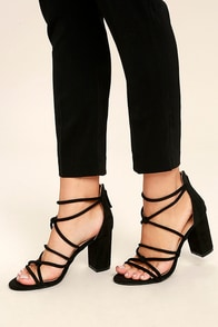 Caley Black Suede Ankle Strap Heels